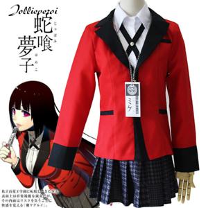 Kakegurui Jabami Yumeko Cosplay Costume Uniform School Miniskirt Skirt Coat