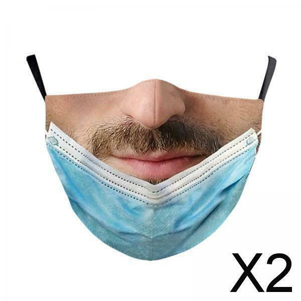 2X Pulled Down Prank Mouth Covering Trick Prank Pattern Masks for Men Women A