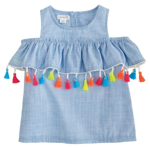 Mud Pie E8 Wild At Heart Baby Girl Denim Neon Tassel Skirt 1172164 Choose Size
