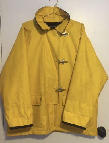 Nautica Sailing Rain Jacket Coat Yellow Hooks Men'