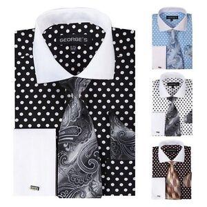 Mens Polka Dot Dress Shirt Custom Made 100 Cotton Tailored