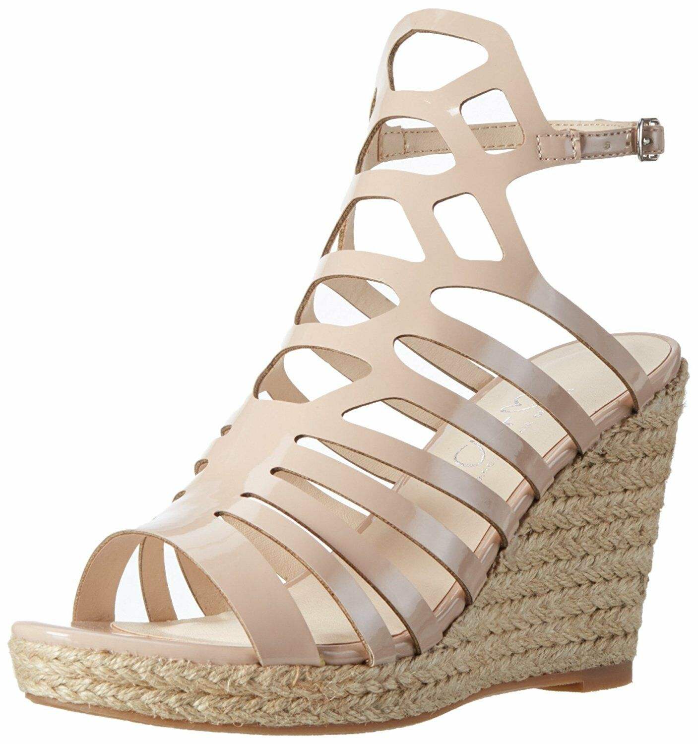 WOMENS SIZE 9 42 NUDE HIGH HEEL WEDGE CAGED TRANSVESTITE CD DRAG SANDALS SHOES