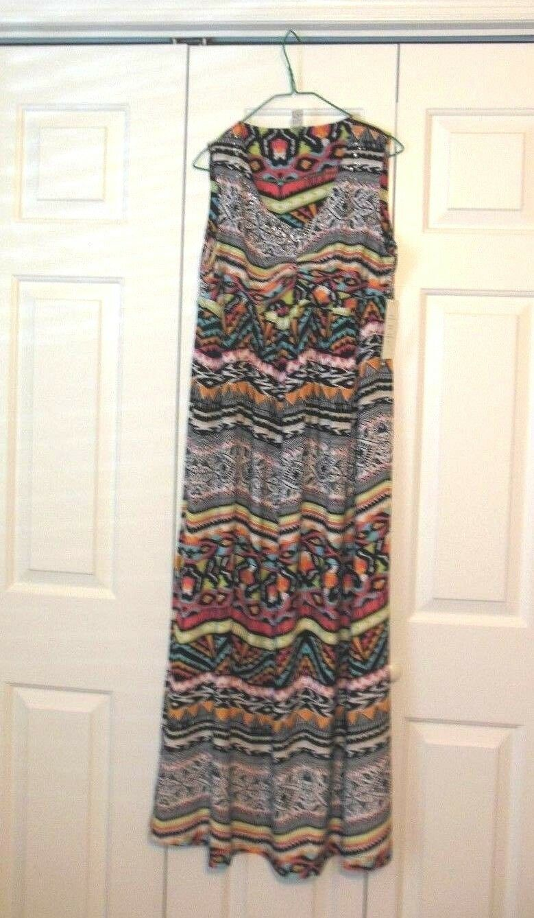 Thomas & Olivia T.O. Stretch Long Printed Dress New With Tags XL