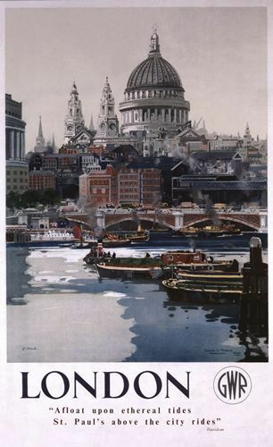 Vintage GWR London St Pauls Cathedral Railway Poster A3//A2 Print