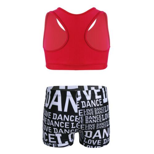 Kids Ballet Gymnastics Leotard Bra Top+Shorts Booty Girl Swim Suit Sports Outfit