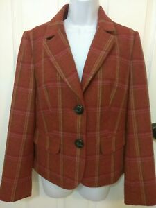 Talbots-Wool-Blazer-Women-039-s-Size-10-Rust-Colored-Plaid-Gathered-Back-Lined