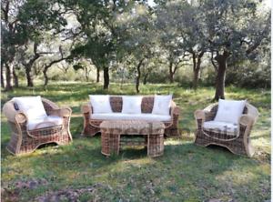 Divano Da Giardino Rattan.Salotto Da Esterno Giardino Rattan Naturale Vimini Set Divano Poltrone Tavolino Ebay