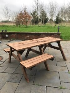 FT WHEELCHAIR DISABILITY ACCESS WOODEN PICNIC TABLE IN RUSTIC - Wheelchair picnic table