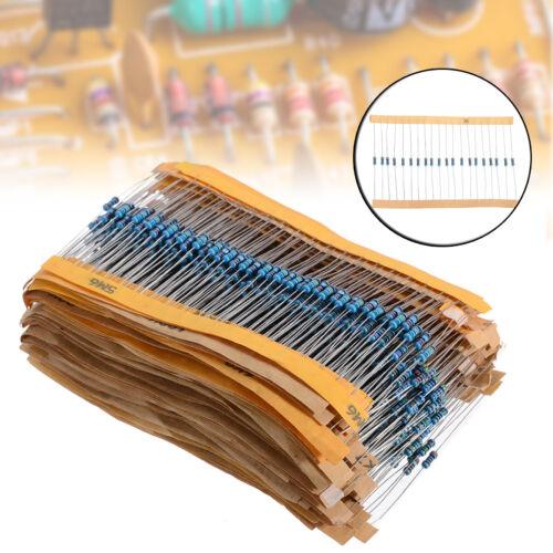 10M ohm 1//4W Metal Film Resistors Assortment Kit Tool 1280Pcs 64 values 1 ohm