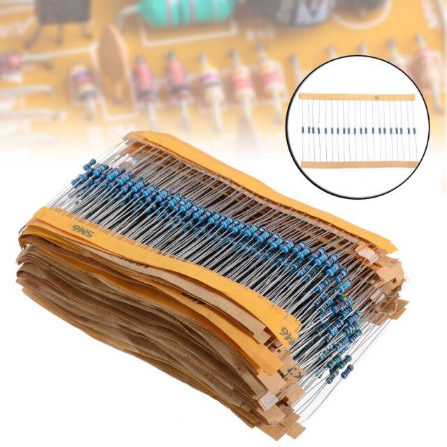 1//4W UK 1-10M ohm 1280pcs Metal Film Resistors Assortment Kit Set 64 Values
