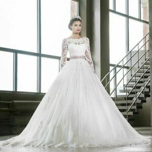 White-Ivory-Wedding-Dresses-Long-sleeves-Lace-Applique-Bridal-Gowns-Plus-Size