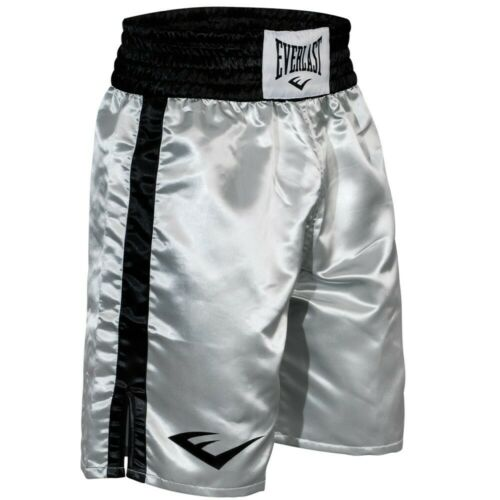 Everlast Standard Top of Knee Boxing Trunks XL Silver//Black