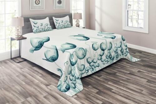Poppy Flora Windy Day Print Details about  /Flower Quilted Coverlet /& Pillow Shams Set