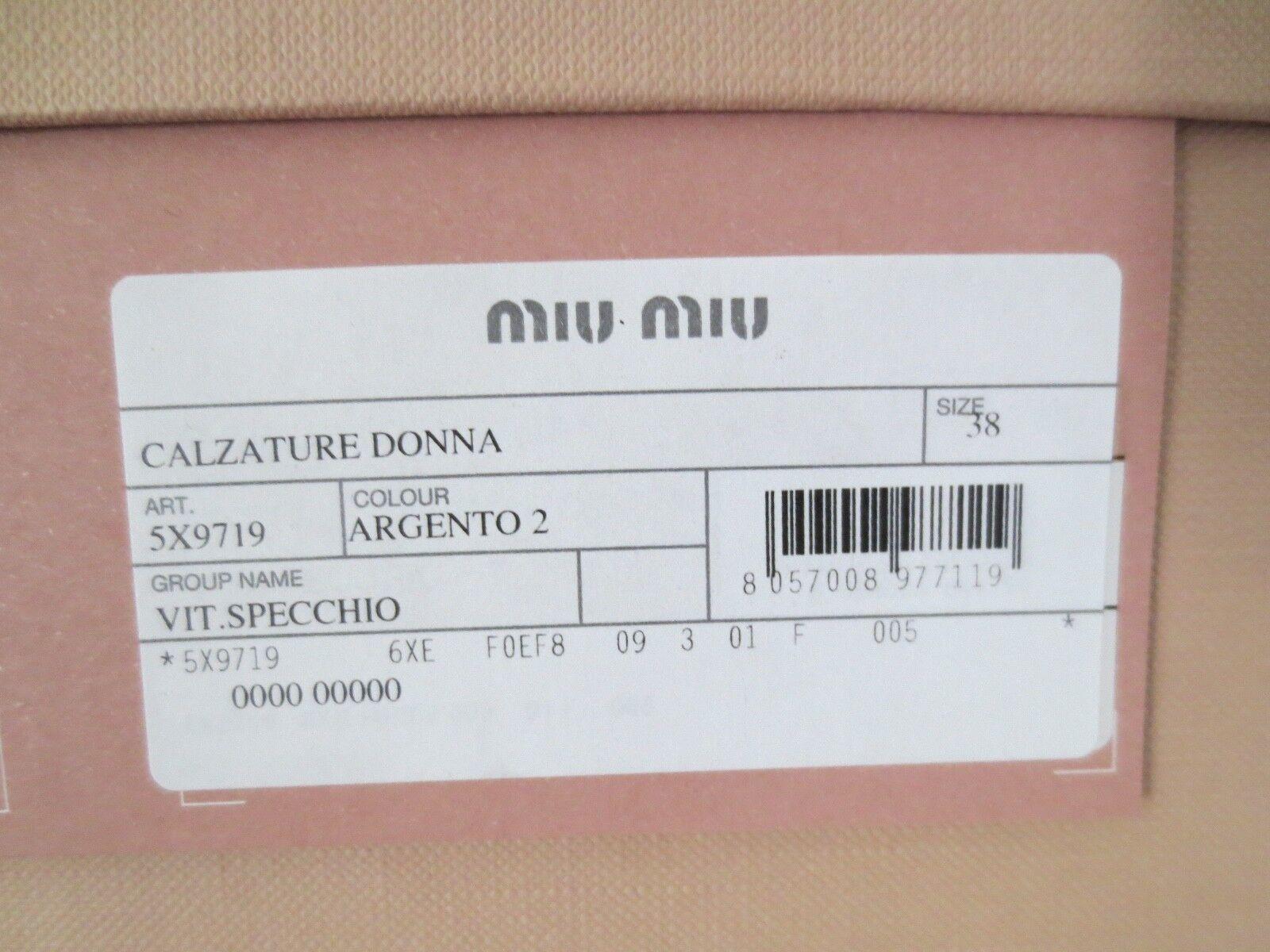 MIU MIU BY PRADA Sandali Tg. 39/38 39/38 Tg. Specchio Argento Sandali Scarpe in pelle 5e0141