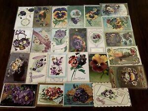 Nice-LOT-of-25-Pansies-PANSY-Flowers-Floral-Greetings-Postcards-In-Sleeves-b17