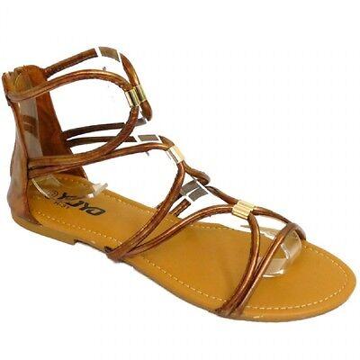 Señoras para mujer planas gladiador botín Flip Flop Verano Sandalias Zapatos Con Tiras
