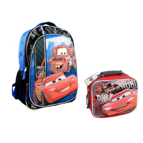 "DISNEY CARS LIGHTNING MCQUEEN 16/"" Backpack School Book Bag Lunch Bag Kids Boys"