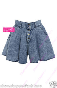 NEUF TAILLE HAUTE PATINEUSE short jupe en jeans JUPE-CULOTTE ... 6e41cfc80ee