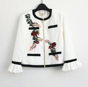 0753e82c2 Image is loading Ted-Baker-Aimmiid-Embroidered-Ruffle-Neck-Jacket-Ivory-