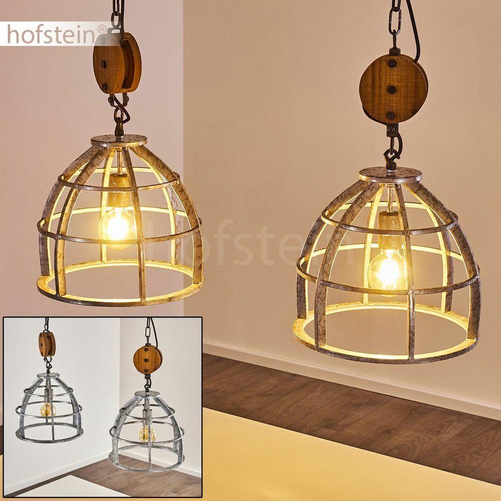 Hänge Leuchten Holz Wohn Schlaf Ess Zimmer Raum Beleuchtung Pendel Lampe silber