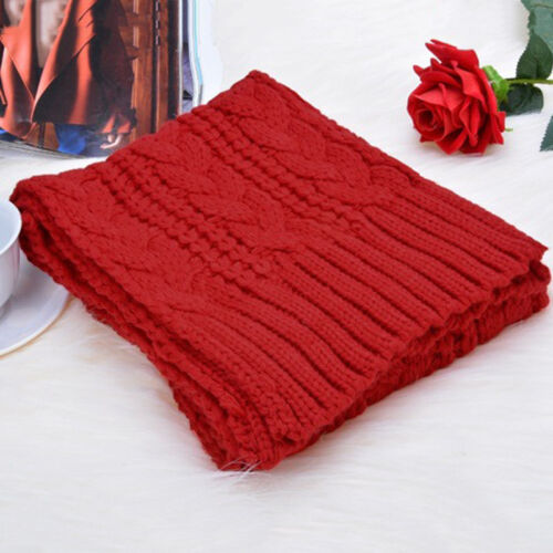 Women Ladies Wooly Winter Warm Cable Knit Beanie Hat Scarf Set Knitted Woollen