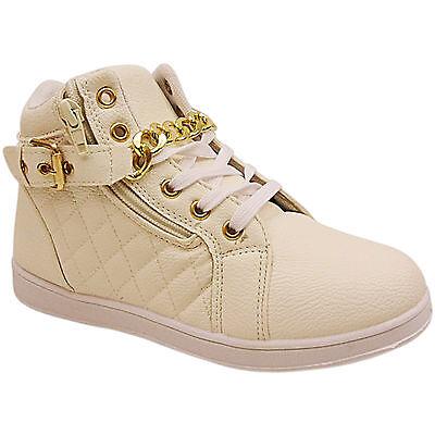 Nuevo Para Mujer Damas Hi Top de Cadena de Oro lazada Zapatillas Zapatos Botines Tamaño Postal