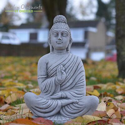 Meditating Indian Buddha Hand Cast Stone Garden Statue Decor Koi Onefold Uk Ebay