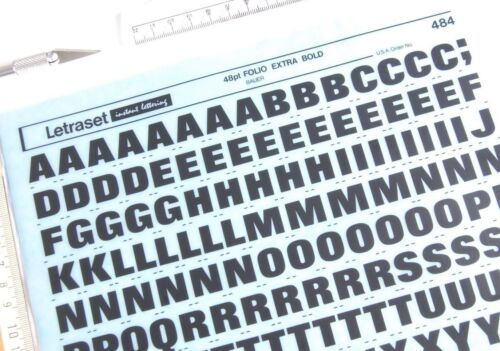 #484 LETRASET Rub On Letter Transfers 48pt FOLIO EXTRA BOLD 13.4mm NEW