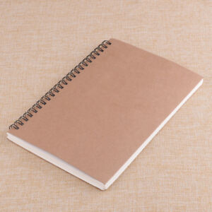 A5 Vintage Spiral Coils Cardboard Cover Blank Notebook Journal Diary 100 Pages