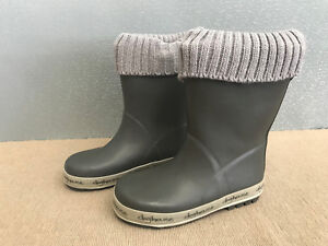 BNWT-Little-Boys-Size-11-Rivers-Doghouse-Brand-Grey-with-Fabric-Top-Gumboots