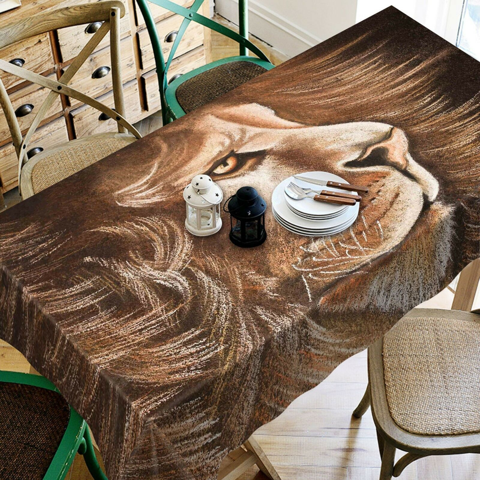 3D Lion Painted 266 Tablecloth Table Cover Cloth Birthday Party Event AJ Summer