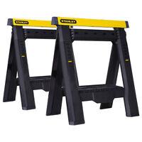 Stanley Folding Sawhorse W/ Adjustable Legs 2-pack, Heavy Duty Construction Tool