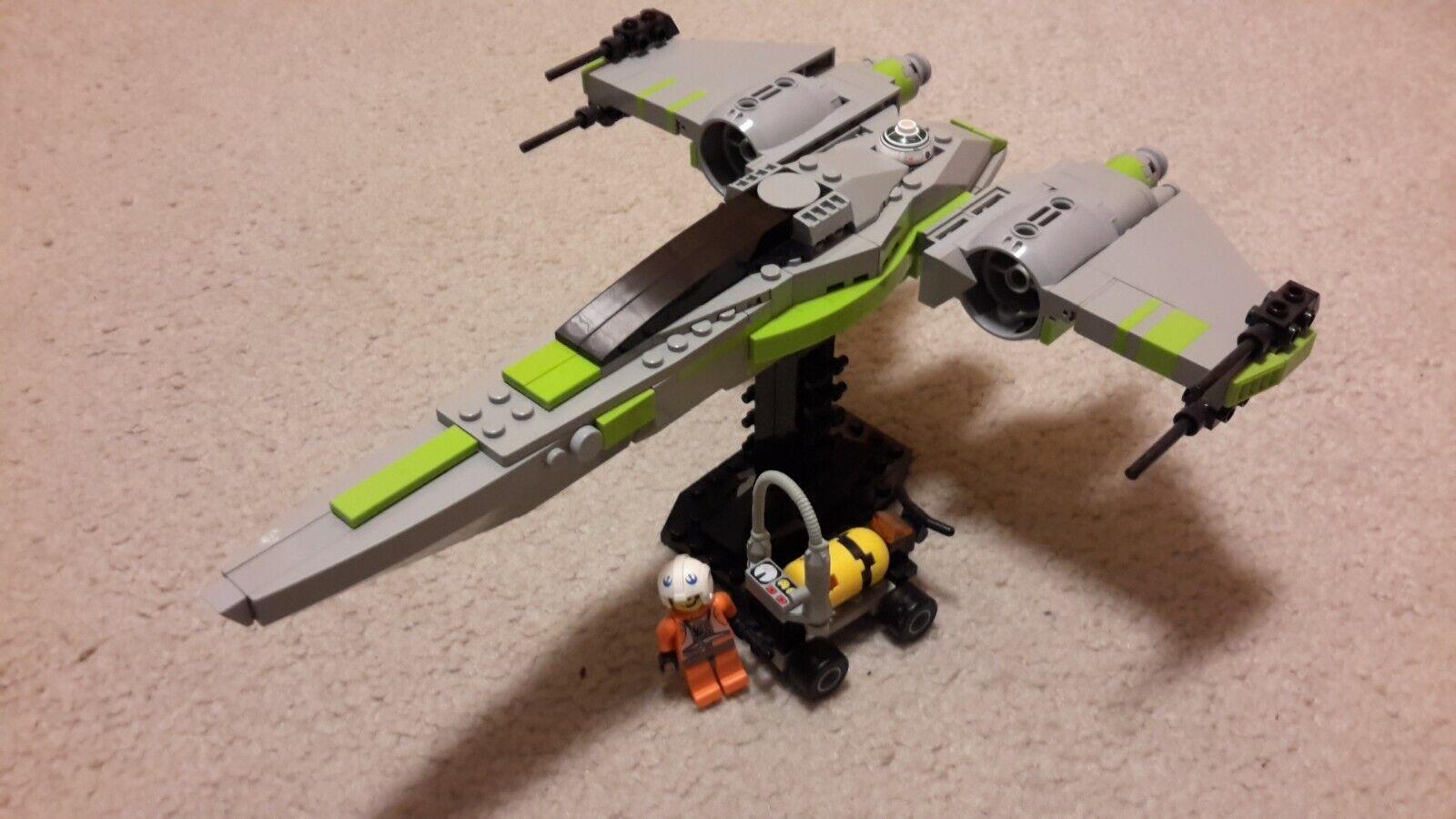 LEGO Custom Star Wars Experimental X-Wing + Pilot, Stand, Fuel cart - Lime Trim