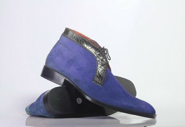 Handmade Blue Chukka Suede Lace Up Boot For Men's Made to order