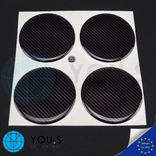 65 mm-nuevo 4 unidades de silicona tapacubos pegatinas Carbon look emblema