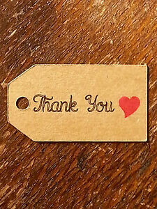 65136bd2d56e Details about 10 Small Kraft THANK YOU RED HEART Luggage FAVOUR TAGS  Wedding Gift Label Party
