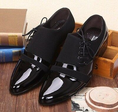 Mens Casual faux  patent leather Oxford  black  Formal lined Dress Shoes New
