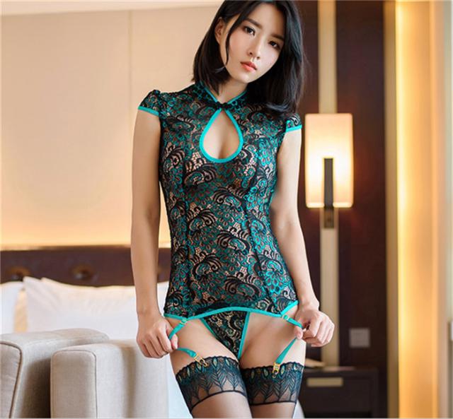 7f82b9f65 Hot Sexy 3D Flowers Twinkle Style Lingerie Silk Babydoll Women Dress  Bellyband