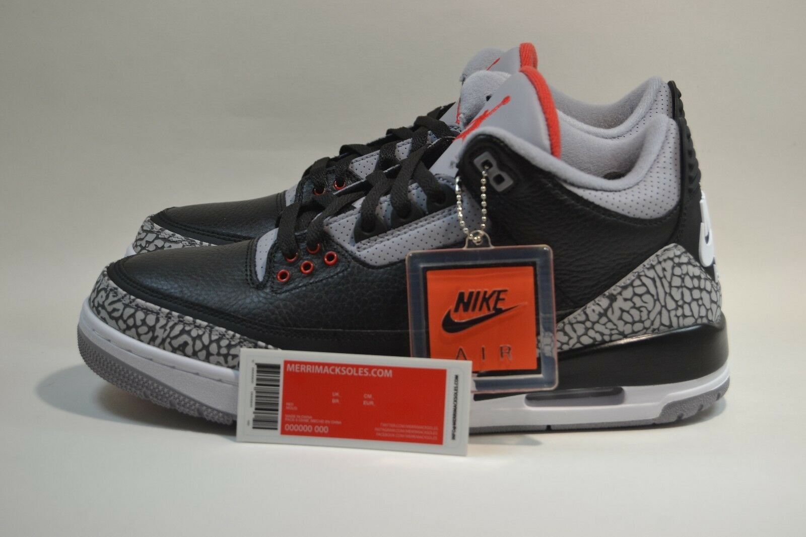 New Mens Nike Air Jordan 3 Retro OG Black Cement 854262-001 2018