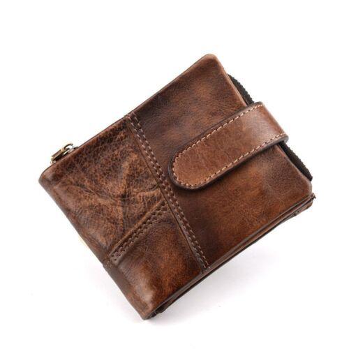 Genuine Leather Men Wallet Cowhide Coin Purse Business Short Retro Card Holder
