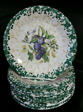 "6 Vintage HIMARK Spongeware Fruit Themed 7 3/4"" Salad Plates Made in Italy"