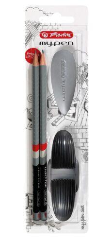 Spitzer Radierer // Farbe: schwarz // 2 Bleistifte Herlitz Starterset 4tlg