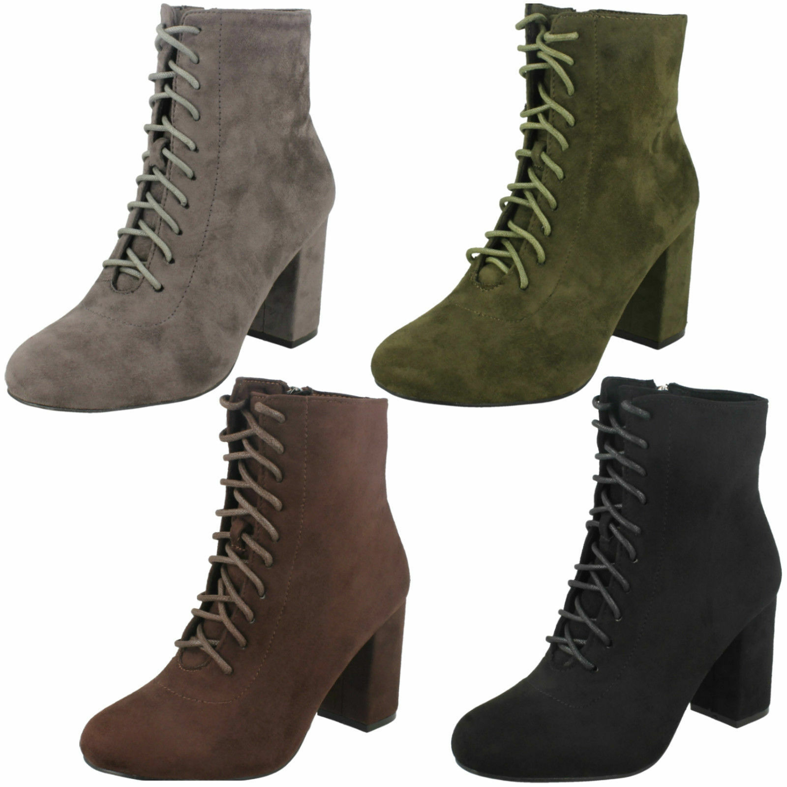 LADIES SPOT ON F50854 BLACK BROWN GREEN GREY LACE UP HEELED BOOTS UK SIZE 3 - 8