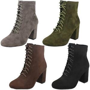 Damen Spot on f50854 schwarz braun grün grau Schnürschuhe Absatz Stiefel