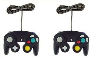 2x-Black-Controller-For-Nintendo-GameCube-GC-Wii-New-Classic-Joypad