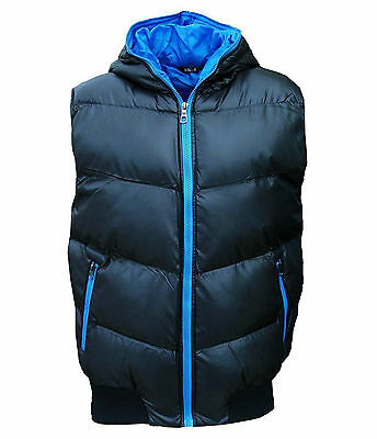 New SK-5 Men's Puffer Hooded Gilet Bodywarmer Quilted Fashion Coat navy