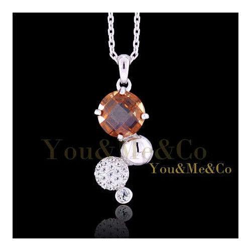 18k White Gold EP 6.32ct Brilliant Cut Topaz Crystal Pendant Necklace