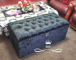 Prime Details About Blanket Box Pouffe Ottoman Storage Box Toy 2 Seater Bench Seats Black Velvet Gmtry Best Dining Table And Chair Ideas Images Gmtryco