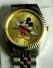 DISNEY MICKEY MOUSE GOLD TONE FACE WATCH /NEW BATTERY