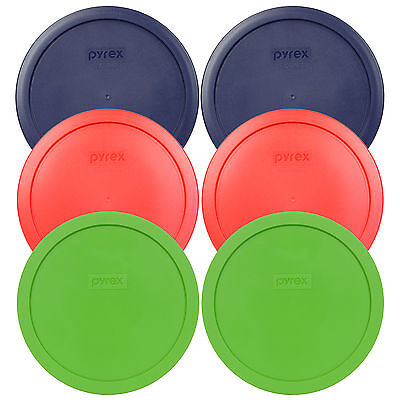 Pyrex 7402-PC 6//7 Cup Cadet Blue Round Plastic Storage Lid 6PK for Glass Bowl